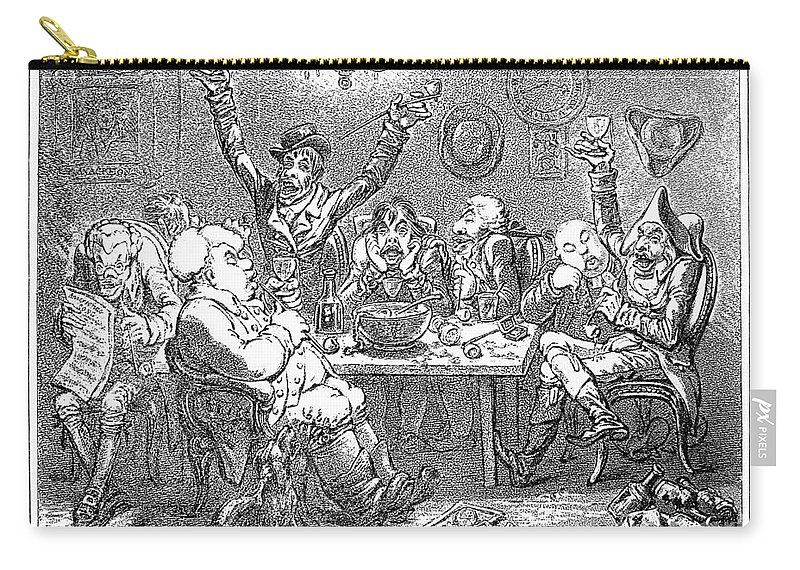 1801 Carry-all Pouch featuring the photograph Gillray: Tavern, 1801 by Granger