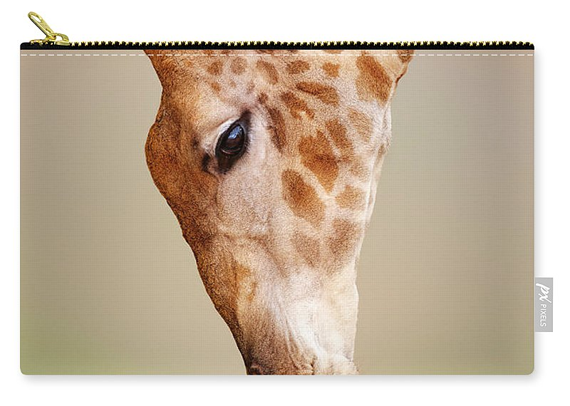 Giraffe Carry-all Pouch featuring the photograph Giraffe Eating Close-up by Johan Swanepoel