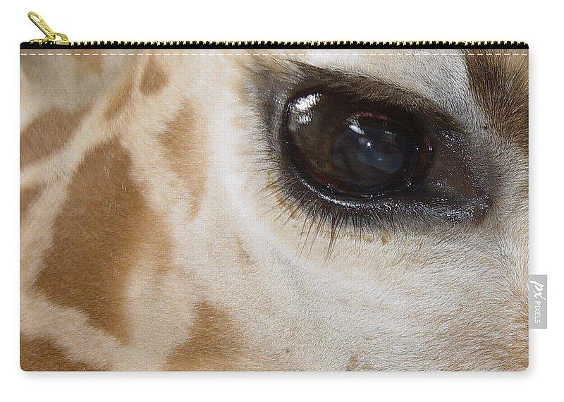 Giraffe Carry-all Pouch featuring the photograph Giraffe Eye by Heather Coen