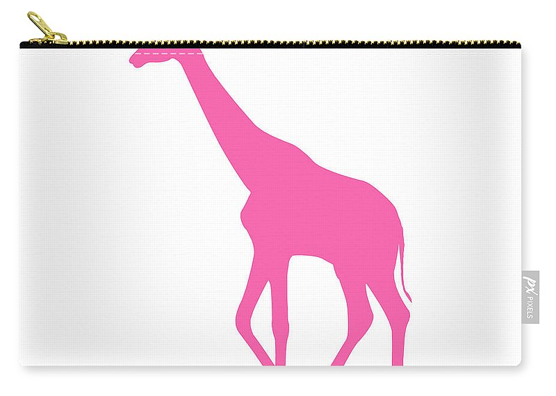 Graphic Art Carry-all Pouch featuring the digital art Giraffe In Pink by Jackie Farnsworth