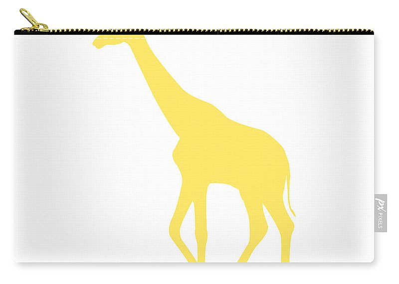 Graphic Art Carry-all Pouch featuring the digital art Giraffe In Yellow And White by Jackie Farnsworth