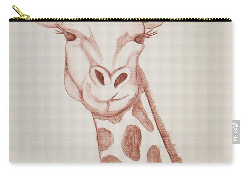 Rick Huotari Carry-all Pouch featuring the painting Giraffe by Rick Huotari