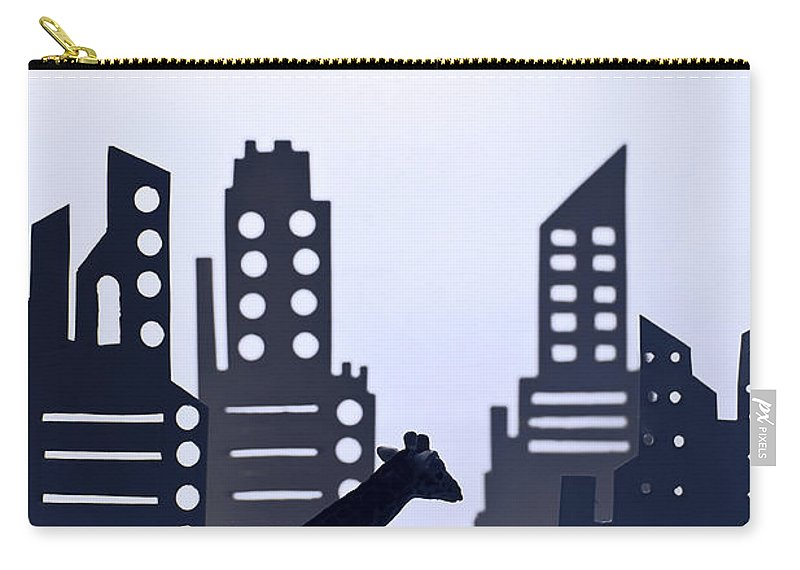 White Background Carry-all Pouch featuring the digital art Giraffe Walking Around The City by Dina Belenko Photography