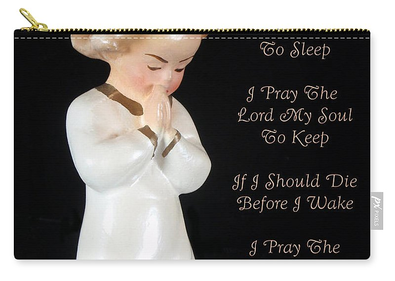 Now I Lay Me Down To Sleep Carry-all Pouch featuring the photograph Girl Childs Bedtime Prayer by Kathy Clark