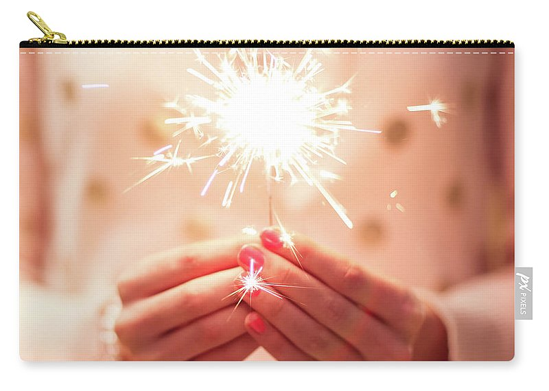 Firework Display Carry-all Pouch featuring the photograph Girl Holding Small Sparkler by Sasha Bell