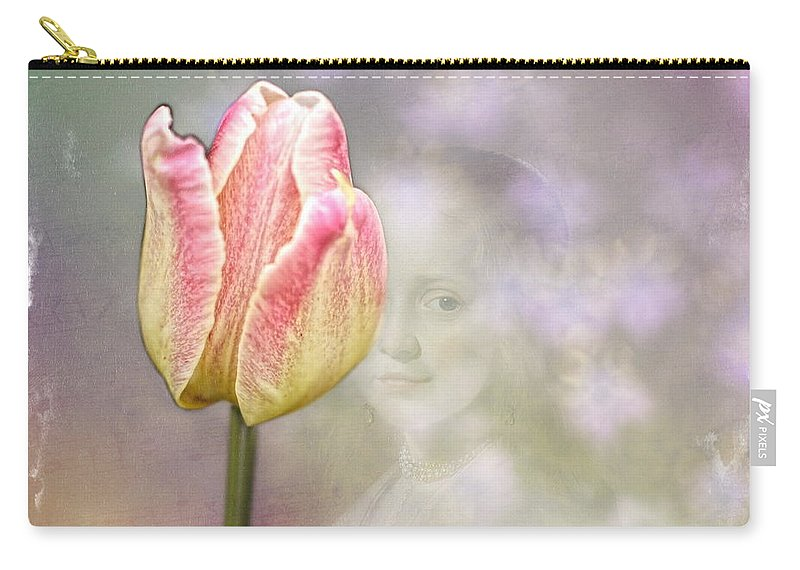 Tulip Carry-all Pouch featuring the photograph Girl In The Garden by Terry Fleckney