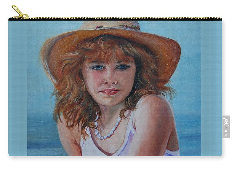 Girl Carry-all Pouch featuring the painting Girl In The Straw Hat by Susan Duda