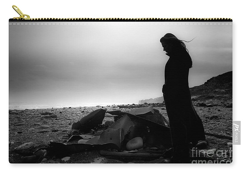 Black And White Carry-all Pouch featuring the photograph Girl On The Beach by Gunnar Orn Arnason