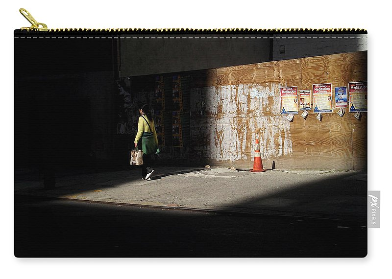 Streetscape Carry-all Pouch featuring the photograph Girl Walking Into Shadow - New York City Street Scene by Miriam Danar