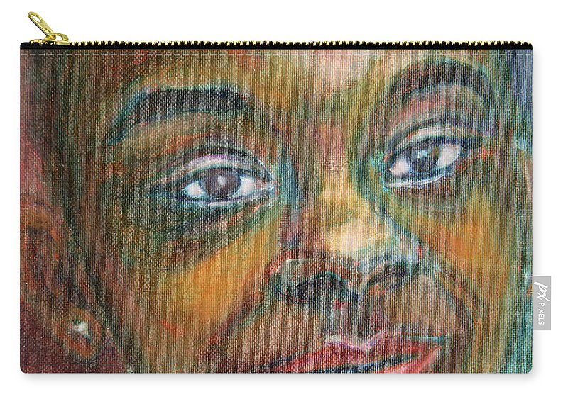 Black Carry-all Pouch featuring the painting Girl With Diamond Earrings by Xueling Zou