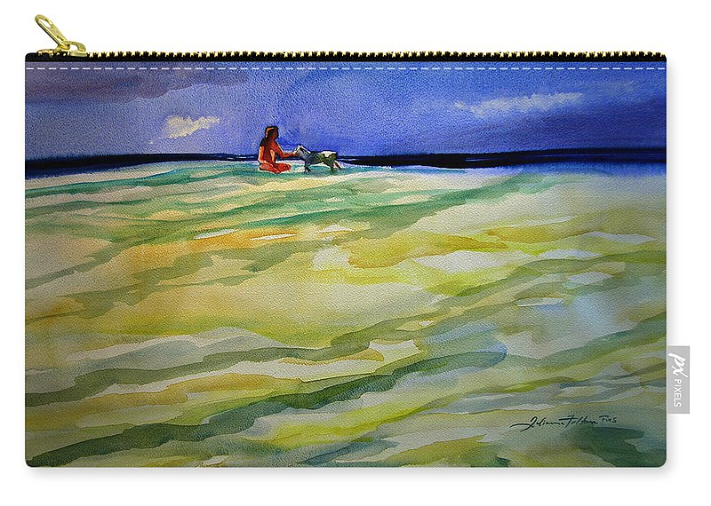 Impressionism Carry-all Pouch featuring the painting Girl With Dog On The Beach by Julianne Felton