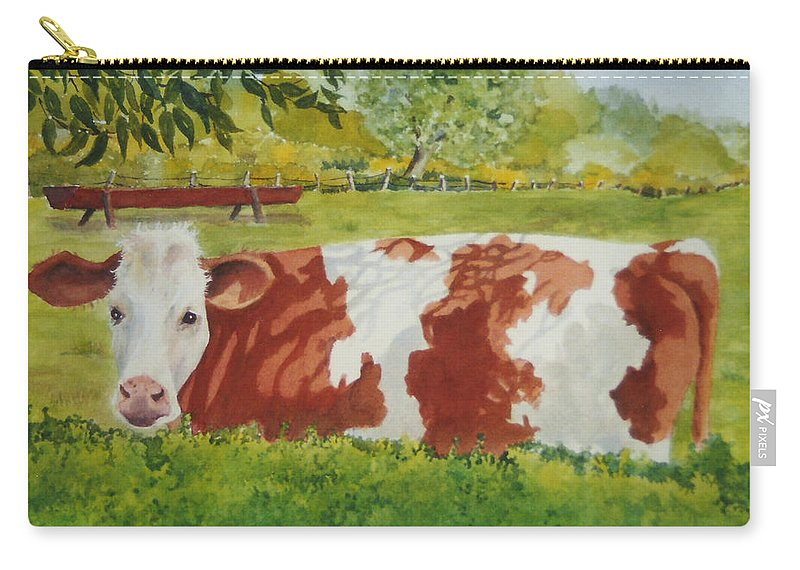 Cows Carry-all Pouch featuring the painting Give Me Moooore Shade by Mary Ellen Mueller Legault