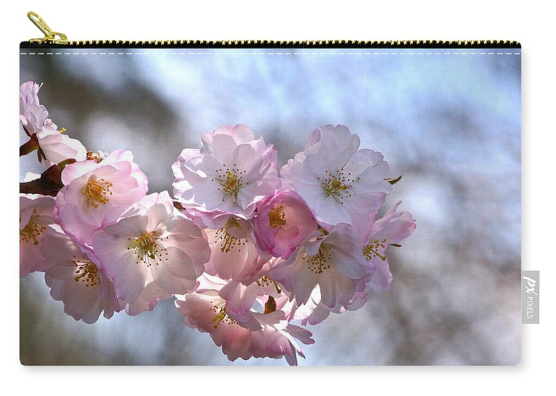 Cherry Blossoms And Heavenly Bokeh Carry-all Pouch featuring the photograph Giving Thanks by Byron Varvarigos