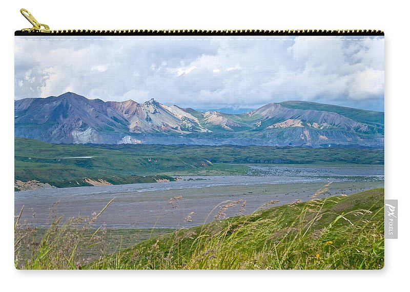 Glaciers And Mountains From Eielson Visitor's Center Carry-all Pouch featuring the photograph Glaciers And Mountains From Eielson Visitor's Center In Denali Np-ak by Ruth Hager