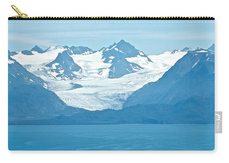 Glaciers In Kenai Range Over Kachemak Bay From Skyline Drive Carry-all Pouch featuring the photograph Glaciers In Kenai Range Over Kachemak Bay In Homer-ak- by Ruth Hager