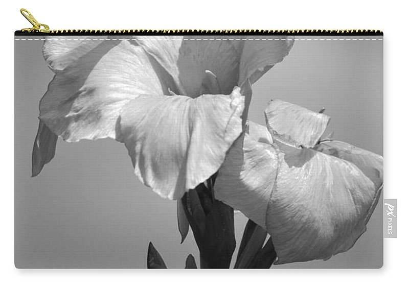 Flower Carry-all Pouch featuring the photograph Gladiola In Black And White by Cindy Manero