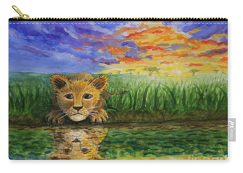 Lion Carry-all Pouch featuring the painting Glancing In The Water by Sheena Kohlmeyer