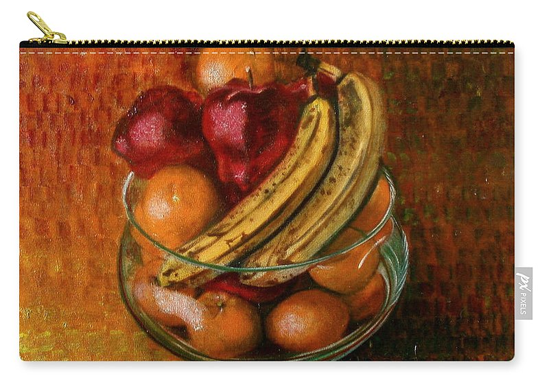 Still Life Carry-all Pouch featuring the painting Glass Bowl Of Fruit by Sean Connolly