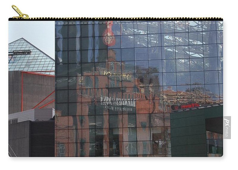 Glaas Facade Carry-all Pouch featuring the photograph Glass Facade Reflection - Aquarium Baltimore by Christiane Schulze Art And Photography