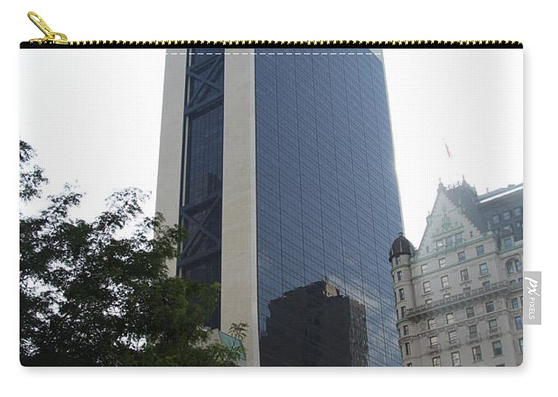 Glass Facade Carry-all Pouch featuring the photograph Glass Facade Reflection II by Christiane Schulze Art And Photography