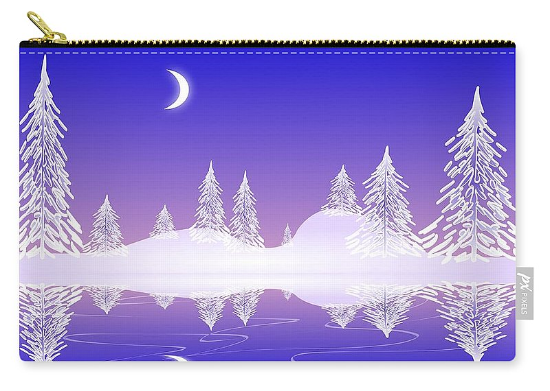 Cool Carry-all Pouch featuring the digital art Glass Winter by Anastasiya Malakhova