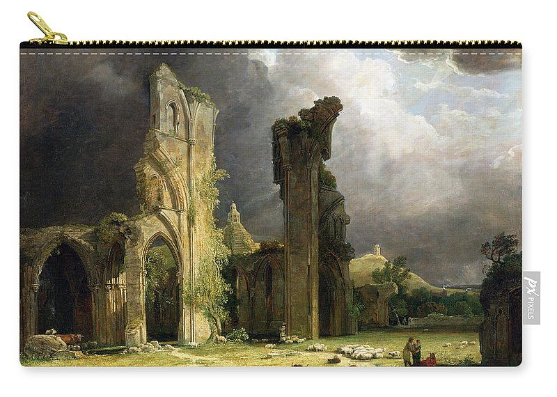Ruins Carry-all Pouch featuring the painting Glastonbury Abbey With The Tor by George Arnald