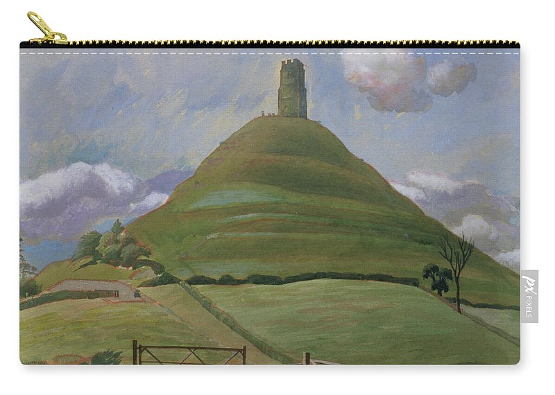 Landscape Carry-all Pouch featuring the drawing Glastonbury Tor by Osmund Caine