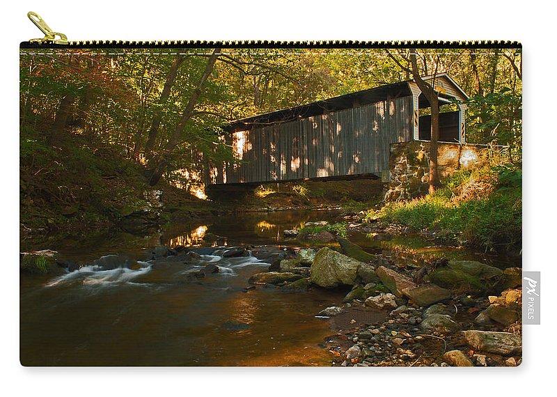 Glen Hope Covered Bridge Carry-all Pouch featuring the photograph Glen Hope Covered Bridge by Michael Porchik