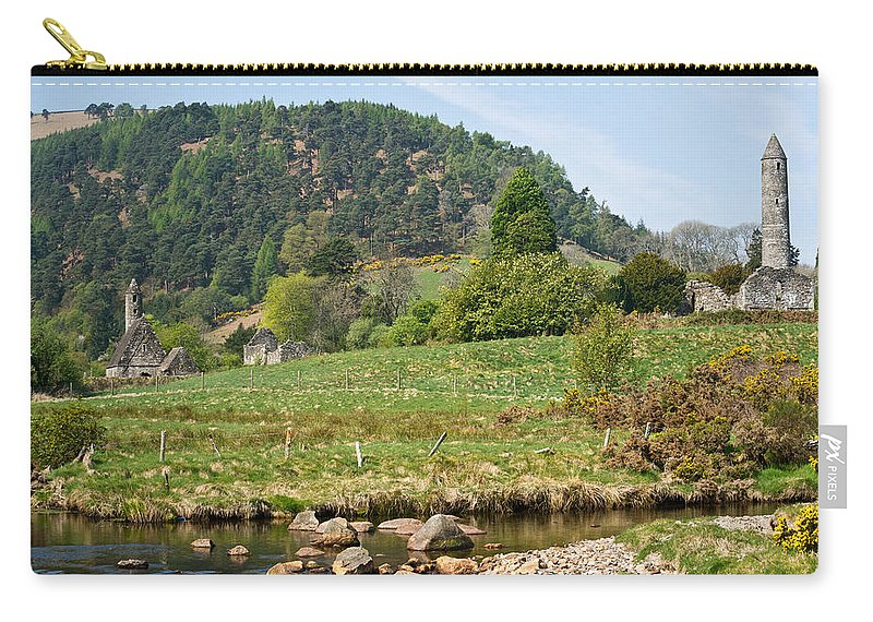 Round Carry-all Pouch featuring the photograph Glendalaugh Tower 15 by Douglas Barnett