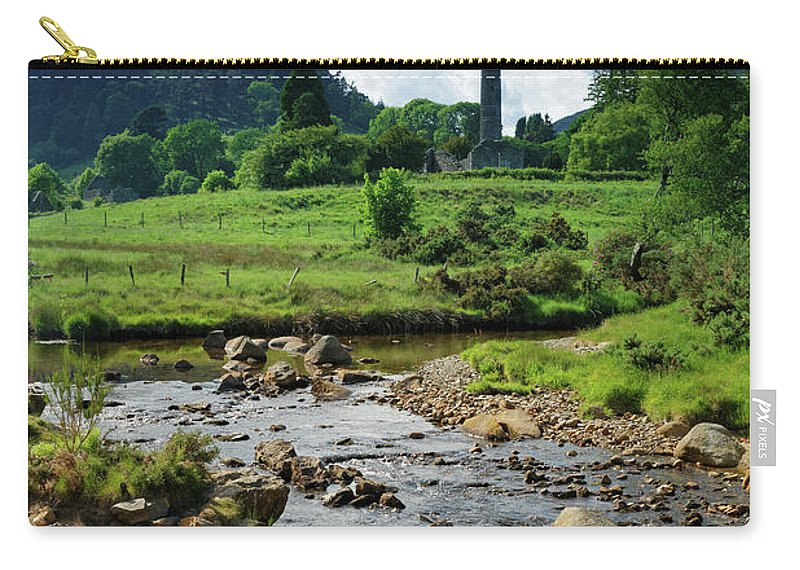 Scenics Carry-all Pouch featuring the photograph Glendalough Creek With The Old Monastic by Mammuth