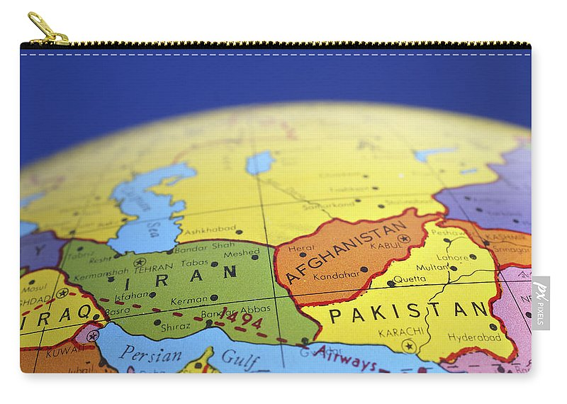 Global map of iran iraq afghanistan pakistan carry all pouch for globe carry all pouch featuring the photograph global map of iran iraq afghanistan pakistan by gumiabroncs
