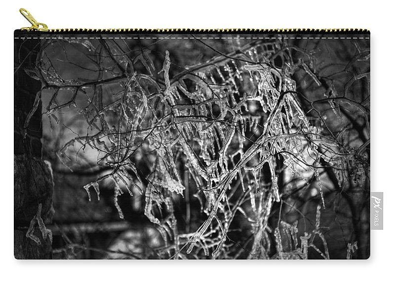 Adams Carry-all Pouch featuring the photograph Gloomy Icy Tree by Brett Engle