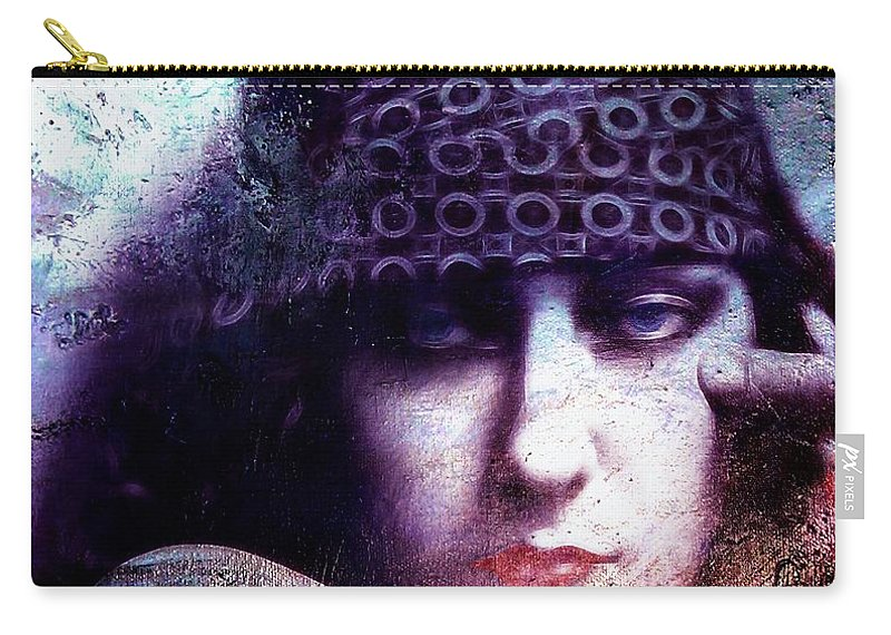 Gloria Swanson Actress Abstract Face Female Beauty Portrait Expressionism Impressionism Woman Girl 20s Silent Film Star Color Colorful Painting Sad Look Carry-all Pouch featuring the painting Gloria Swanson Oil by Steve K