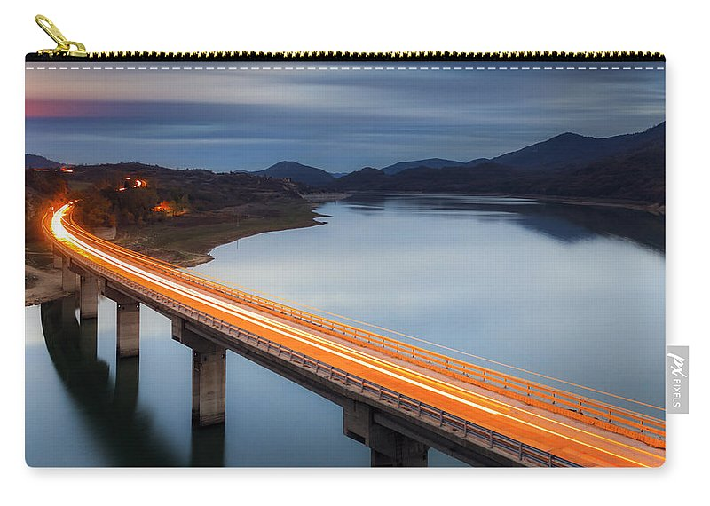 Bulgaria Carry-all Pouch featuring the photograph Glowing Bridge by Evgeni Dinev