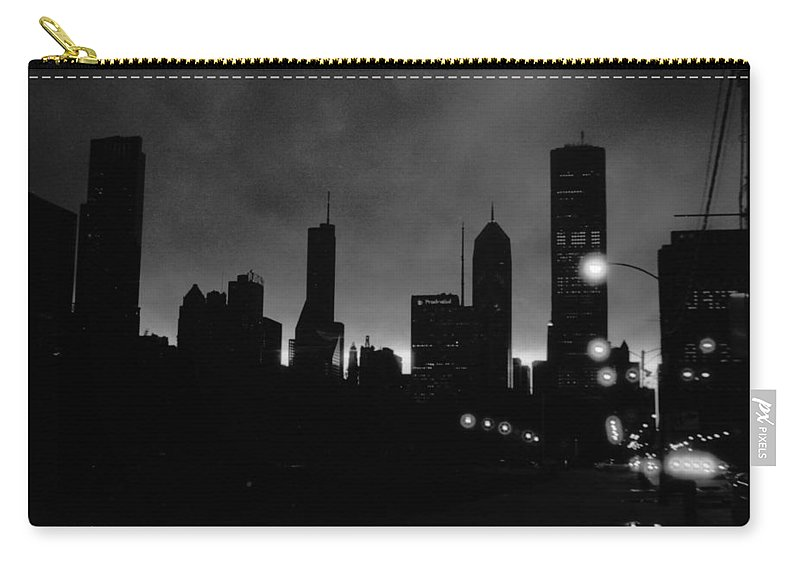 Chicago Carry-all Pouch featuring the photograph Glowing Chicago Sunset by Verana Stark