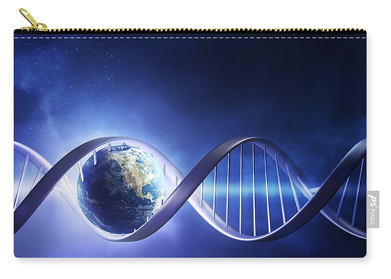 Dna Carry-all Pouch featuring the photograph Glowing Earth Dna Strand by Johan Swanepoel