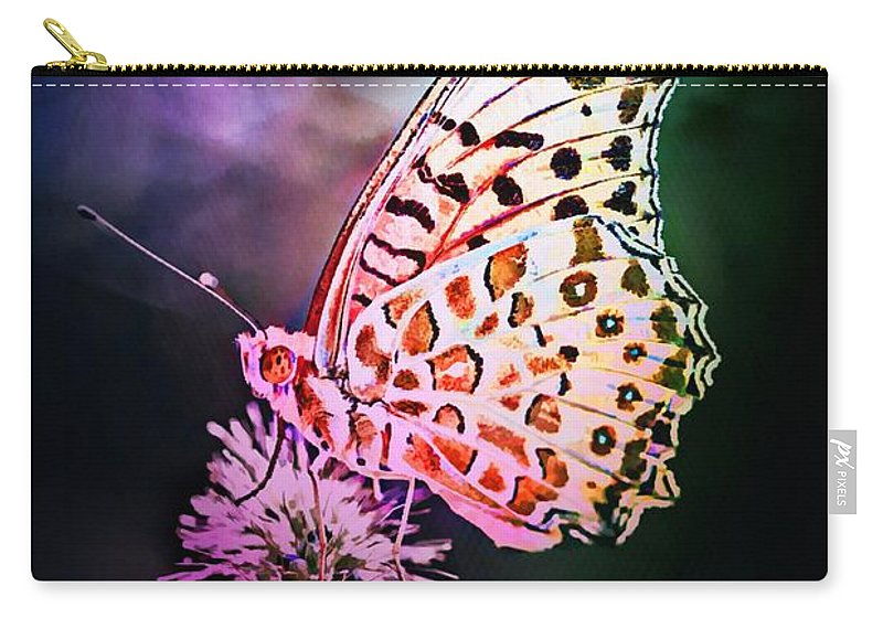 Flower Carry-all Pouch featuring the digital art Glowing In The Dark by Lilia D