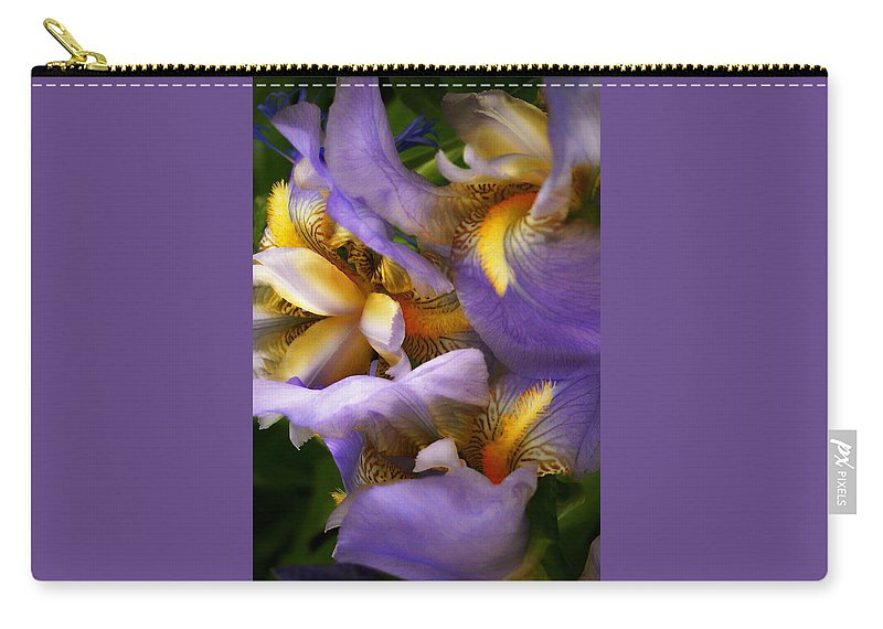 Iris Carry-all Pouch featuring the photograph Glowing Iris' by Susan McMenamin