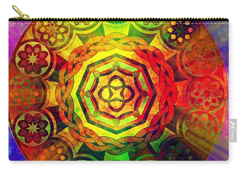 Pop Art Carry-all Pouch featuring the digital art Glowing Mandala by Ally White
