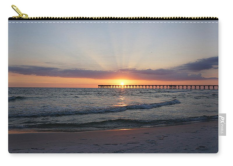 Sunset Carry-all Pouch featuring the photograph Glowing Sunset by Sandy Keeton