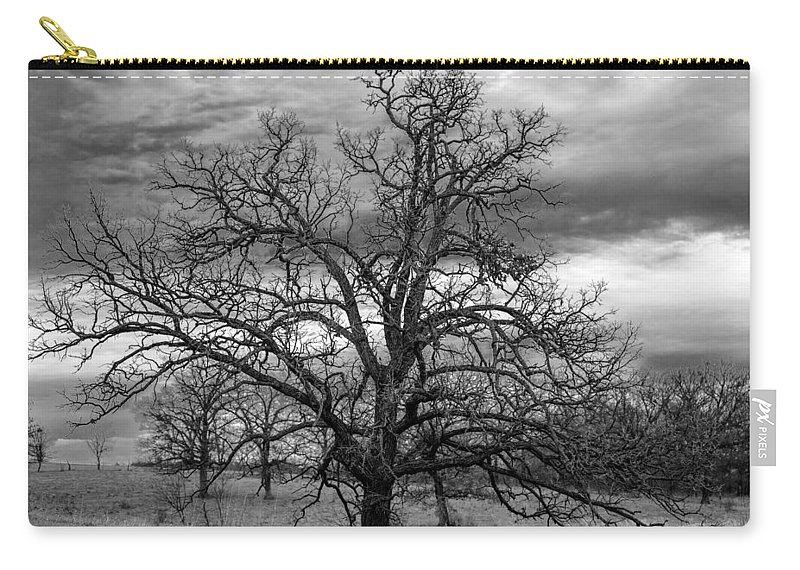 Black And White Carry-all Pouch featuring the photograph Gnarly Tree by Sennie Pierson