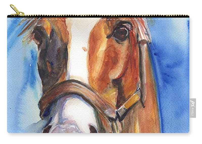California Chrome Carry-all Pouch featuring the painting Horse Painting Of California Chrome Go Chrome by Maria's Watercolor