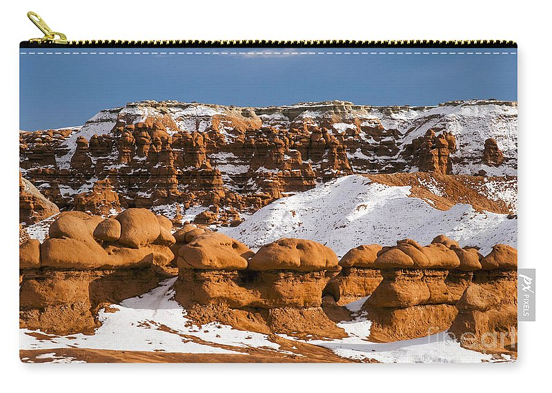 Goblin Valley State Park Utah Hoodoo Hoodoos Fairy Chimneys Toadstools Toadstools Snow Hill Hills Red Rock Parks Landscape Landscapes Snowscape Snowscapes Nature Carry-all Pouch featuring the photograph Goblin Valley by Bob Phillips