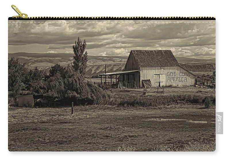 Carry-all Pouch featuring the photograph God Bless America Barn Black And White by Cathy Anderson