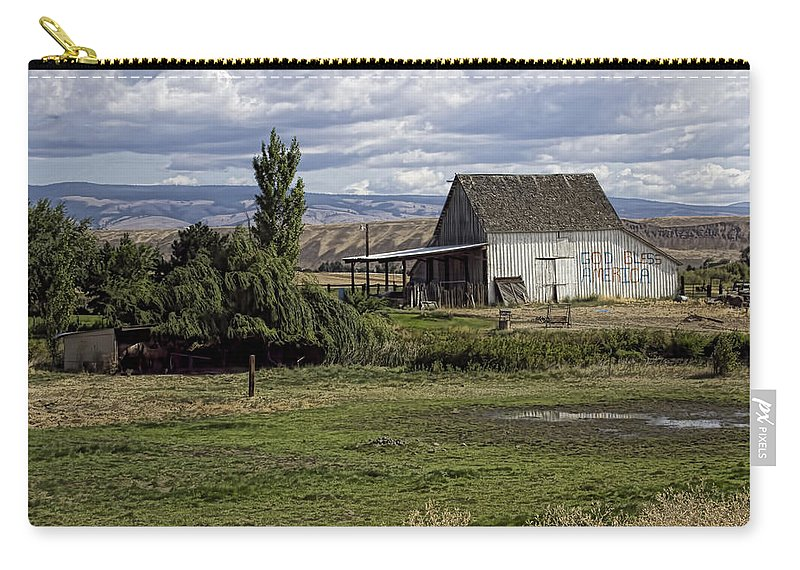 Carry-all Pouch featuring the photograph God Bless America Barn by Cathy Anderson