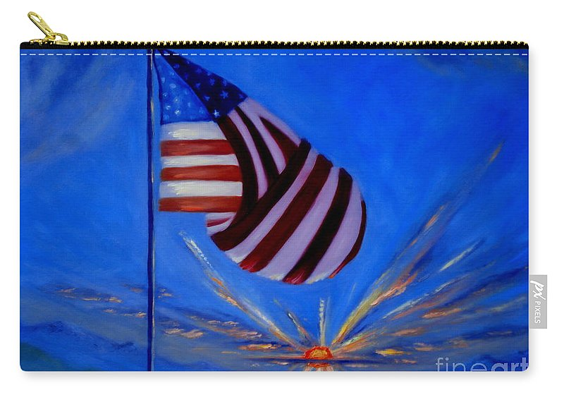 American Flag Carry-all Pouch featuring the painting God Bless America by Rebecca Hendrix