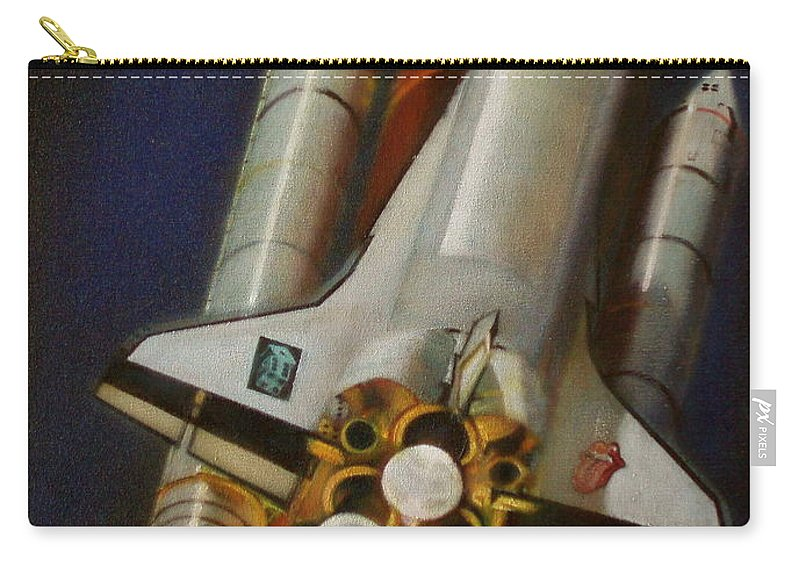 Space Shuttle;launch;liftoff;blastoff;rockets;engines;astronauts;spaceart;nasa;photorealism Carry-all Pouch featuring the painting God Plays Dice by Sean Connolly