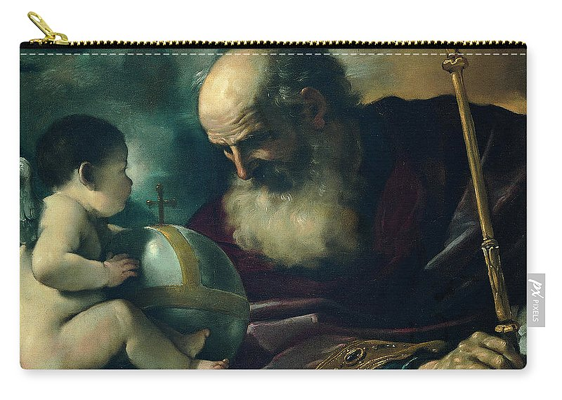 Guercino Carry-all Pouch featuring the painting God The Father And Angel by Guercino