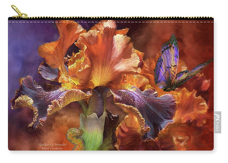 Iris Carry-all Pouch featuring the mixed media Goddess Of Miracles by Carol Cavalaris