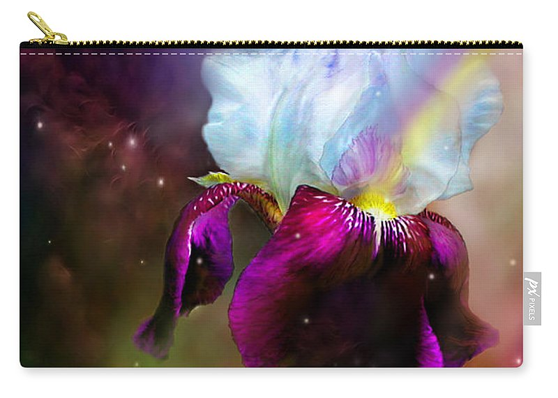 Iris Carry-all Pouch featuring the mixed media Goddess Of The Rainbow by Carol Cavalaris